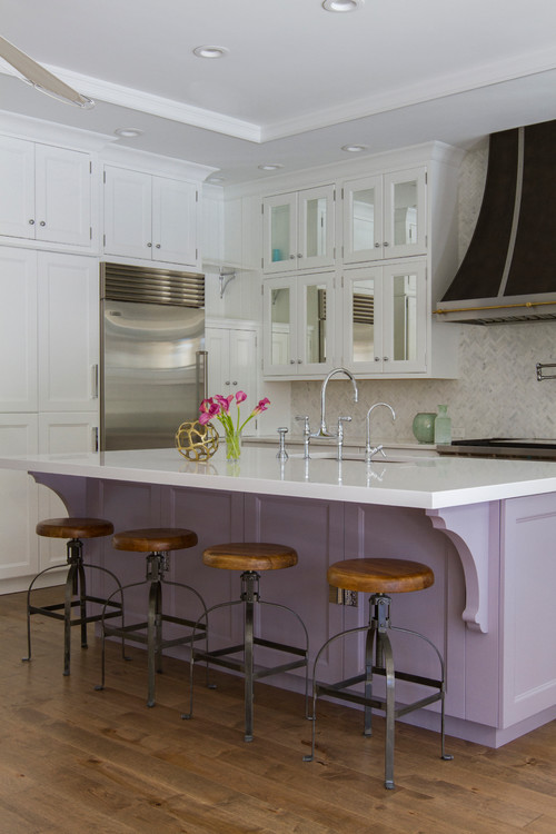 White Kitchen with Lavender Kitchen Island