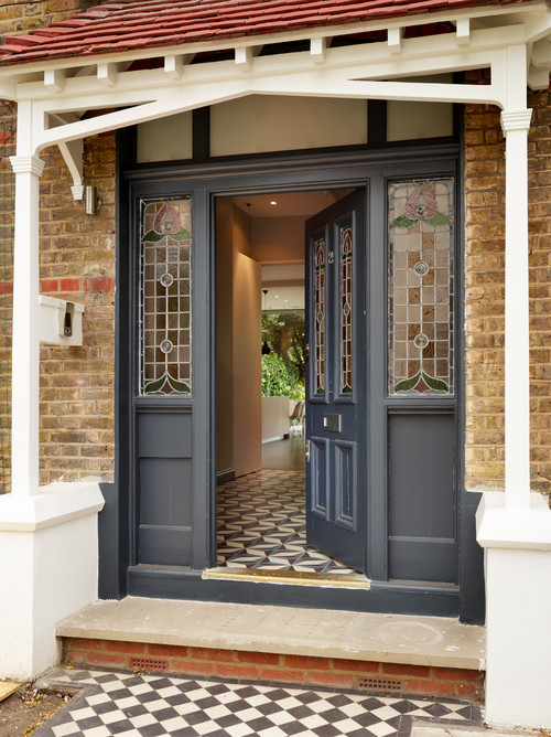 Gray Front Door with Stained Glass