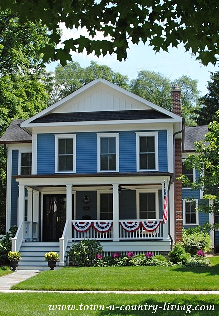 Blue Traditional Home in Wheaton, Illinois