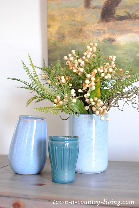 Blue Vases with Greens Create a Spring Vignette