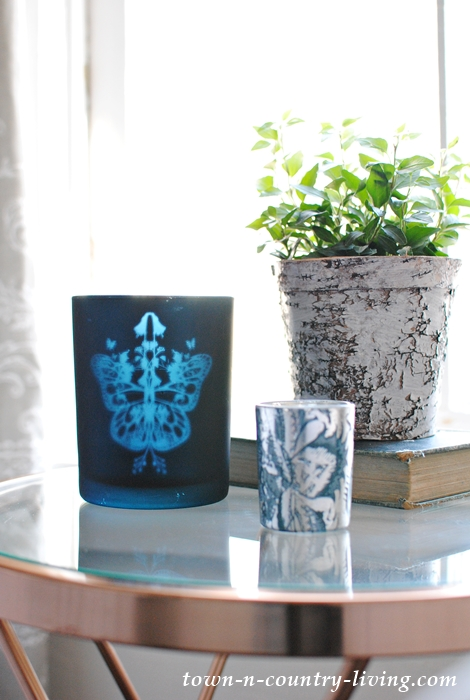 Spring Vignette with Blue Candle Holders