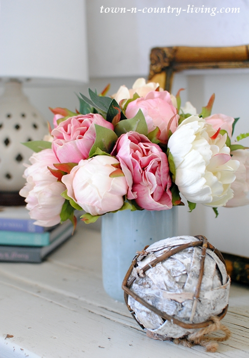 Blue Vase with Faux Peonies