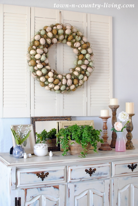 Easter Egg Wreath and Spring Vignettes