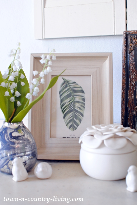 Spring Vignette with Lily of the Valley and Botanical Print