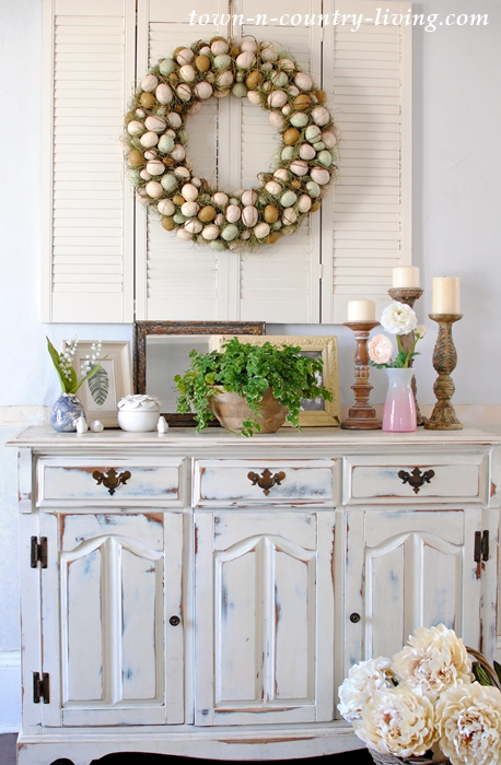 Easter Egg Wreath and Spring Vignettes on Dining Buffet