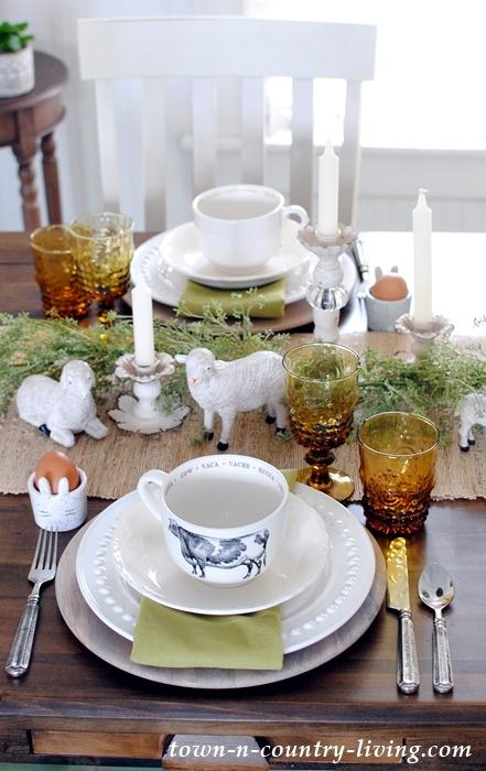 Farmhouse Table Setting for Easter Brunch