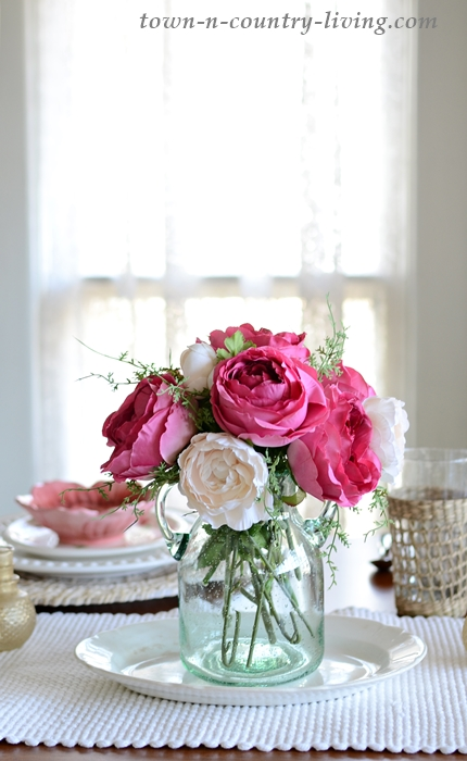 Faux Pink Rose Arrangement