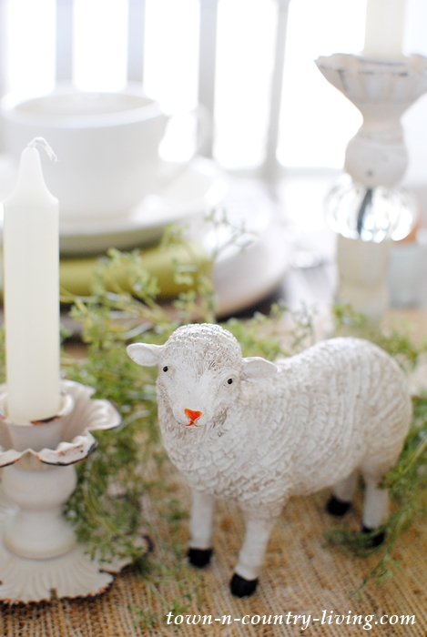 Easter Brunch Centerpiece with Sheep Figurines