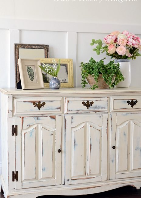 Country Style Buffet Decorated for Spring
