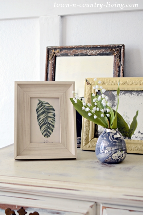 Spring Vignette with Faux Lily of the Valley