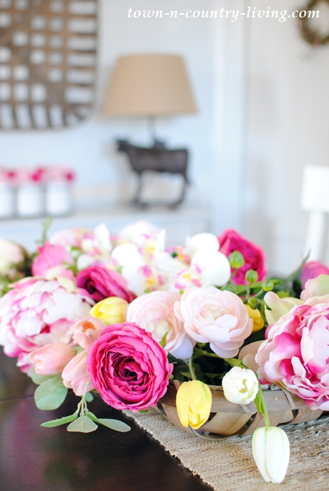 Silk Pink Flowers in Farmhouse Dining Room