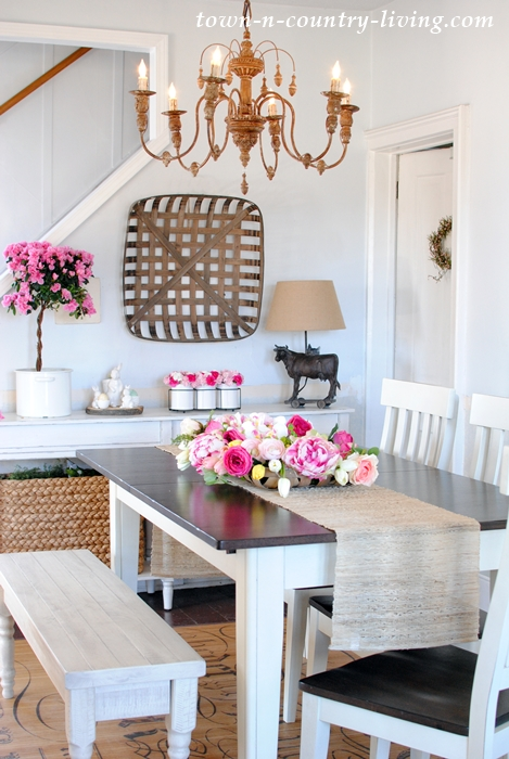 Farmhouse Dining Room with Touches of Pink