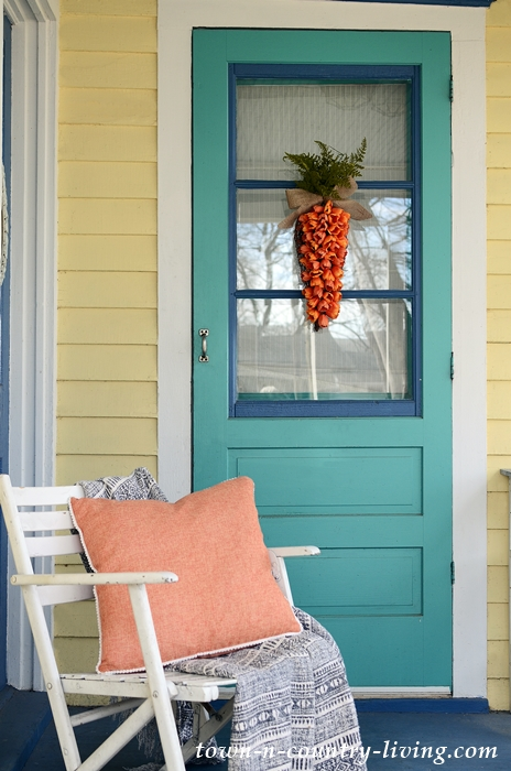 Spring Front Porch with Carrot Wreath
