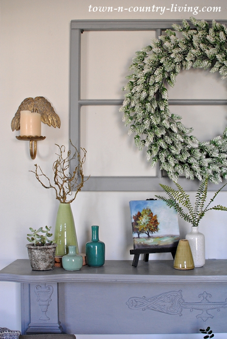 Spring Country Mantel in Blue and Green