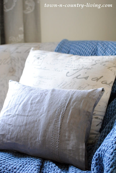 Gray Linen and Script Pillows for Spring