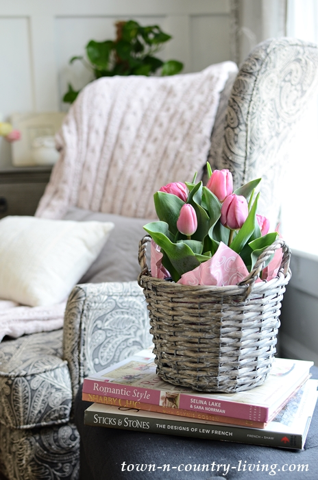 Entryway with Pink Spring Colors - Basket of Tulips