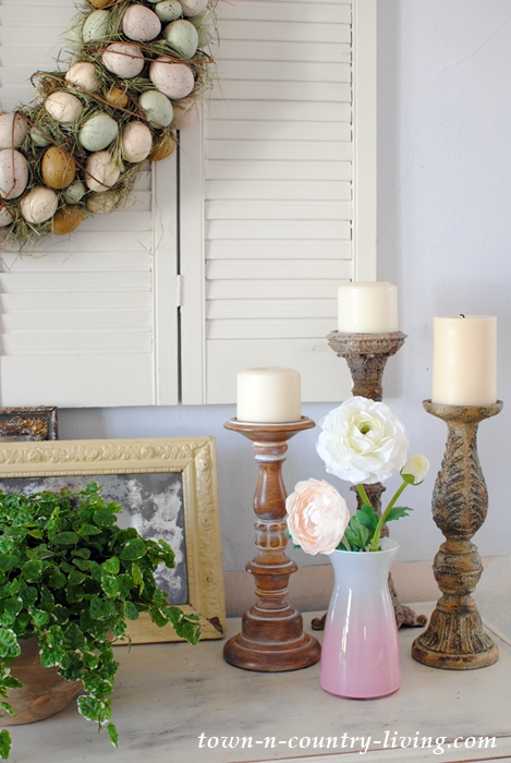 Spring Vignette with Candle Holders