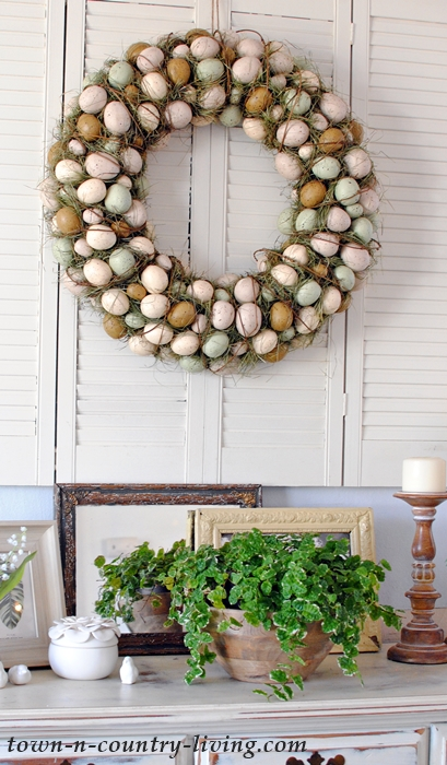 Spring Vignette with Ficus and Vintage Mirrors
