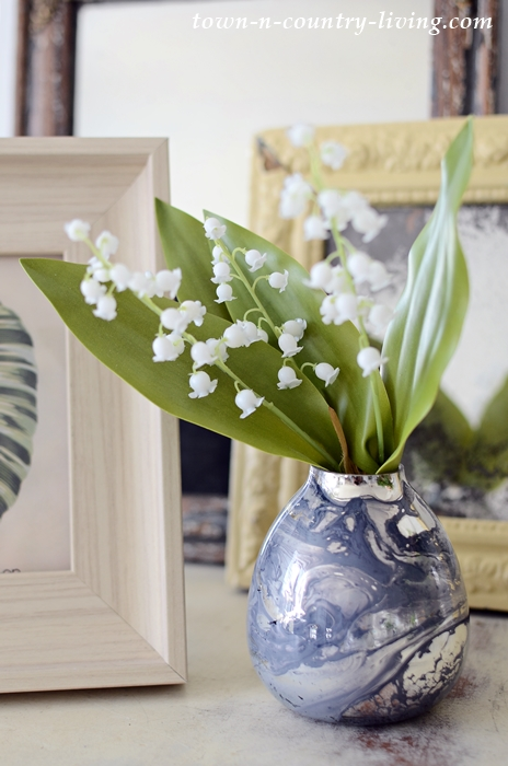 Blue Swirl Vase with Lily of the Valley