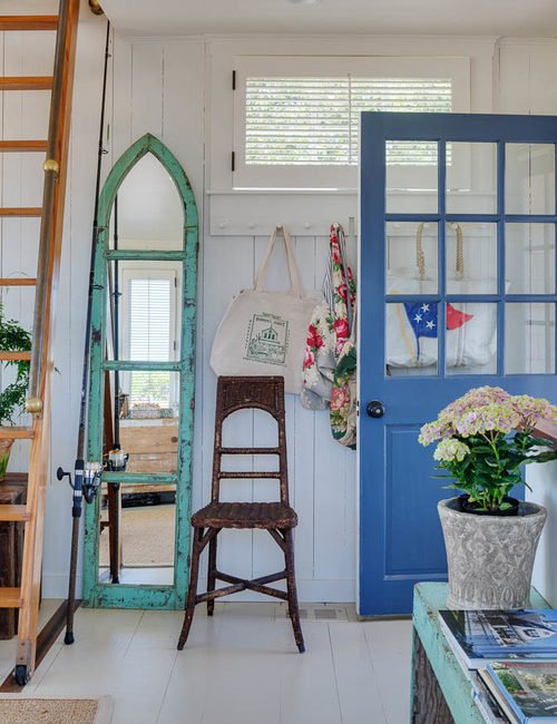 Beach House Entryway with Blue Door