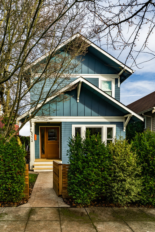 Craftsman Style House Painted Blue