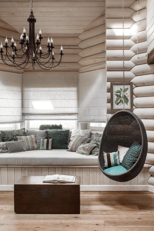 Modern Log Cabin Living Room