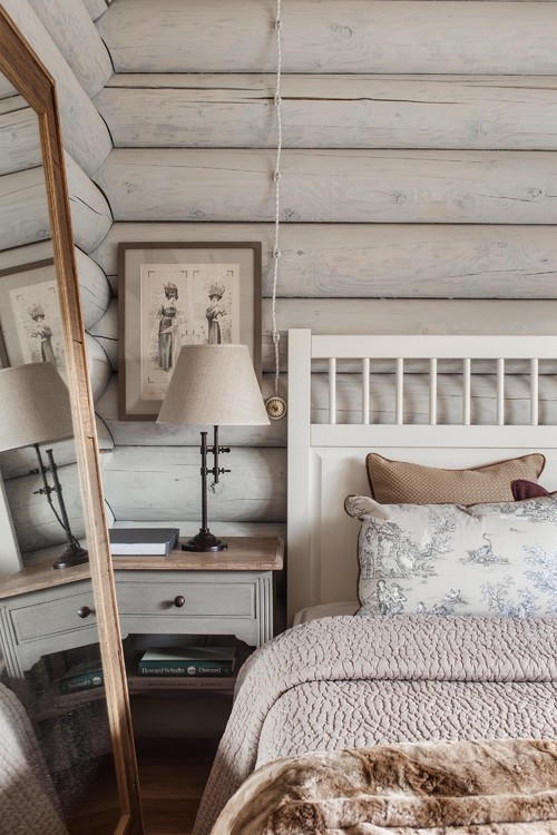 Light Log Cabin Bedroom
