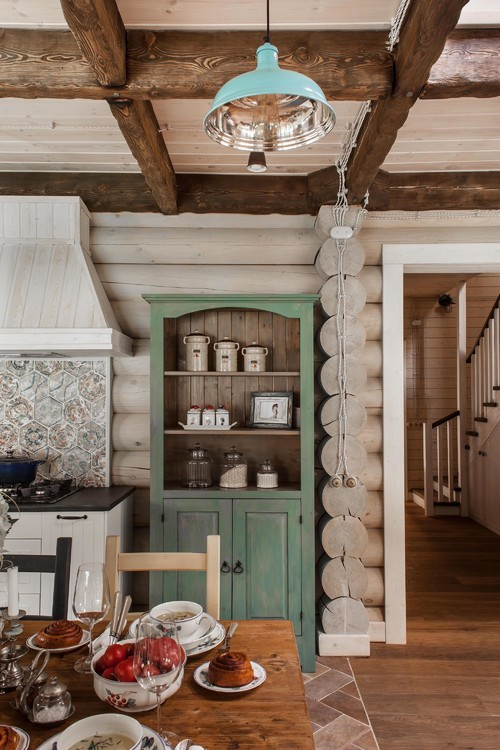 Green Hutch in Moscow Log Cabin Kitchen