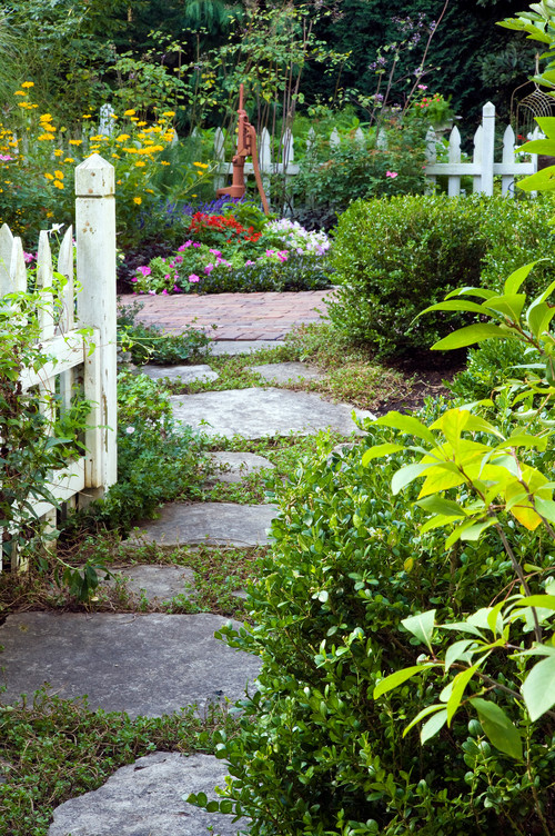 Cottage Garden with Picket Fence and Flagstone Path