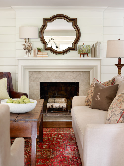 Elegant Country Style Living Room with Fireplace