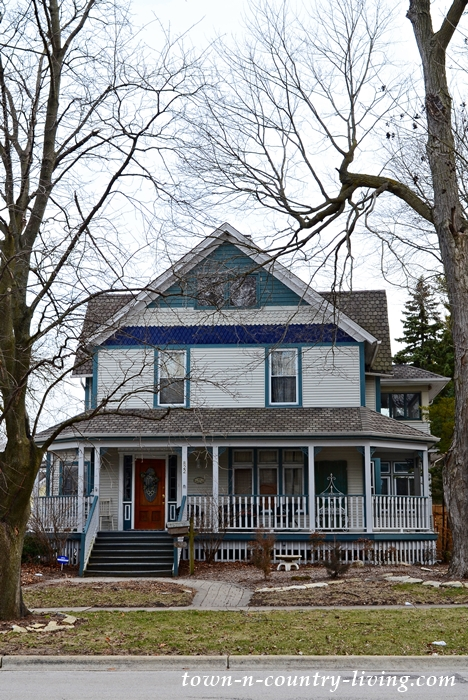 Blue Victorian Home with Wraparound Porch