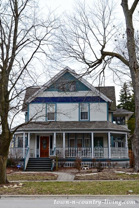 Blue Victorian Home with Wraparound Porch