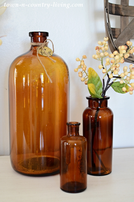 Brown Vintage Bottles in Farmhouse Vignette