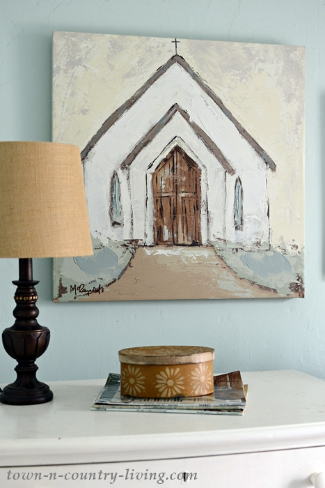 Country Church Painting for a Farmhouse Bedroom