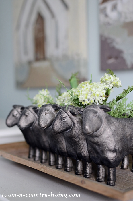 Sheep Planter for Spring Vignette