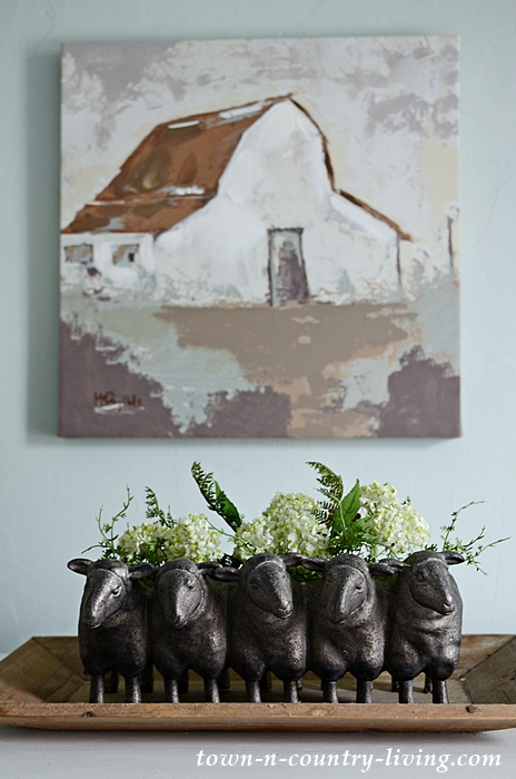 Country Barn Painting with Sheep Planter