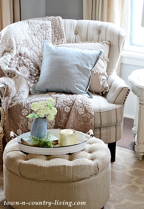 Cozy Striped Chair from Pier One with Tufted Ottoman