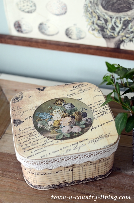 Decoupage Box with Ephemera
