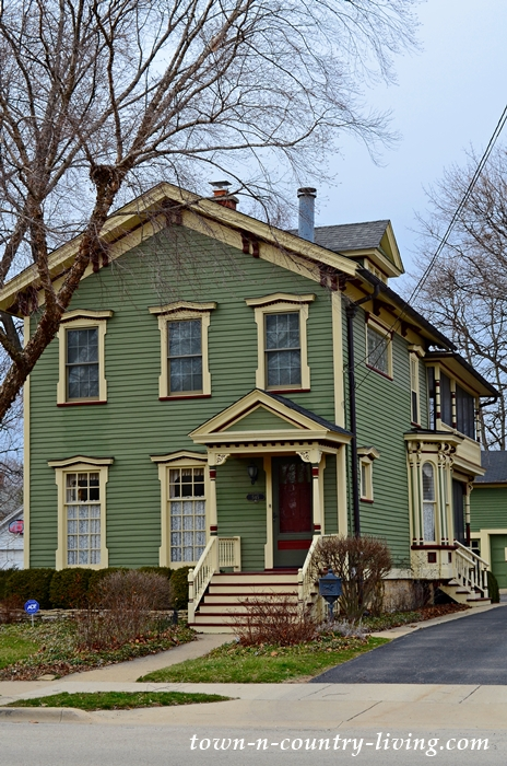 Green Clapboard Victorian House