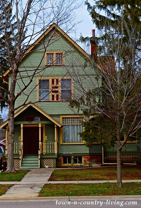 Green and Yellow Painted Lady in Aurora Historic District