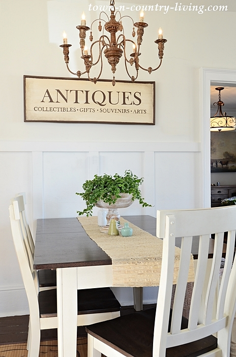 Antiques Sign in a Farmhouse Dining Room