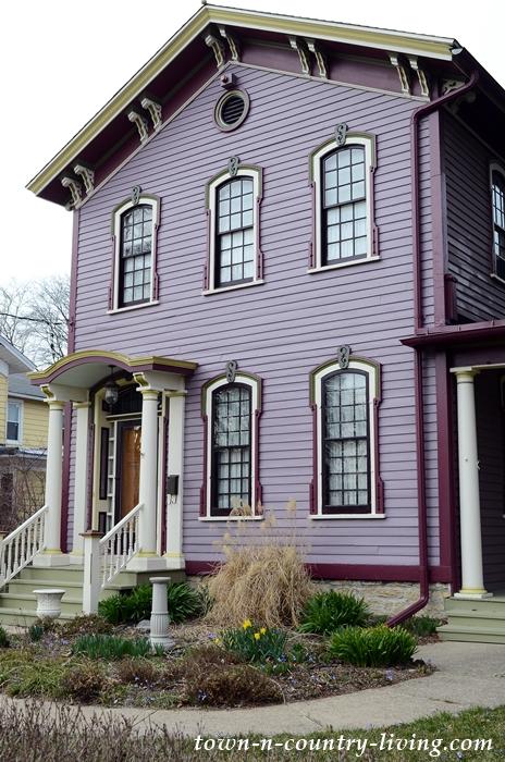 Purple Victorian House in Aurora Historic District