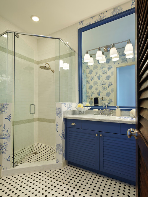 Beach Style Bathroom in Blue and White