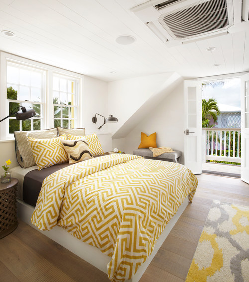 Sunny Yellow Cottage Bedroom with Balcony