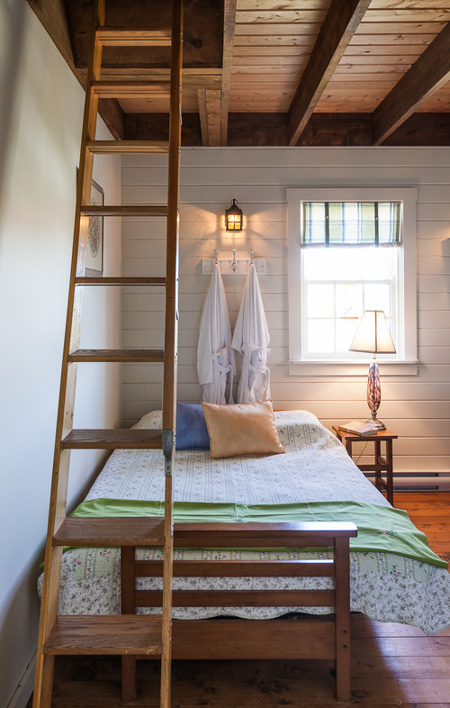 Country Style Farmhouse Bedroom with Ladder to Loft