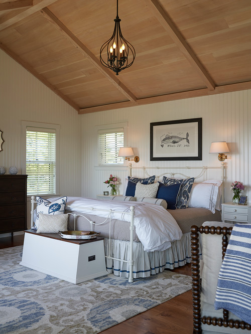 Country Style Master Bedroom with Vaulted Wood Ceiling