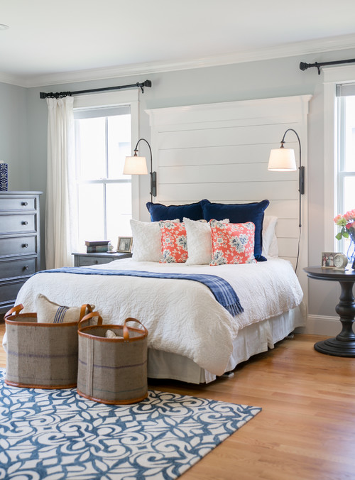 Blue and White Farmhouse Style Master Bedroom