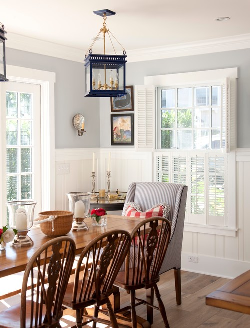 Traditional Dining Room with Ticking Stripe Chairs