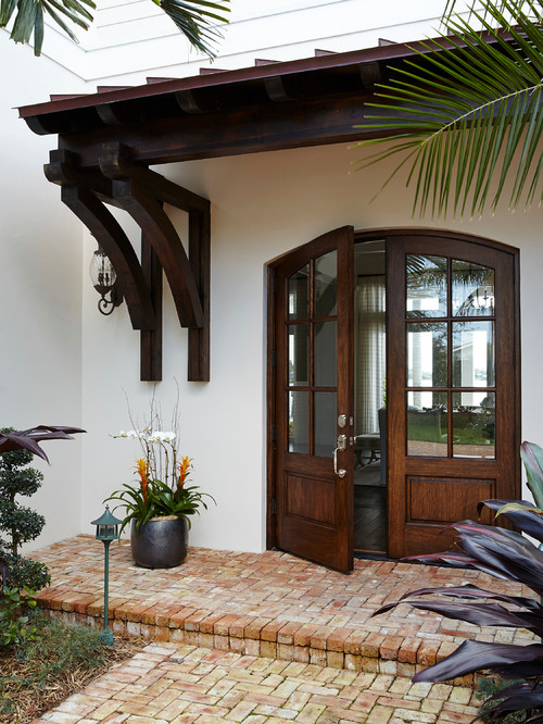 Double front doors in wood