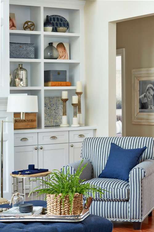 Blue and White Striped Chair in Beach Style Living Room